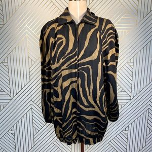 Norma Kamali Black Gold Zebra Print Zip Jacket